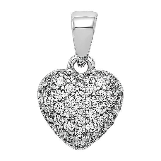 Womens Cubic Zirconia 14K White Gold Heart Pendant