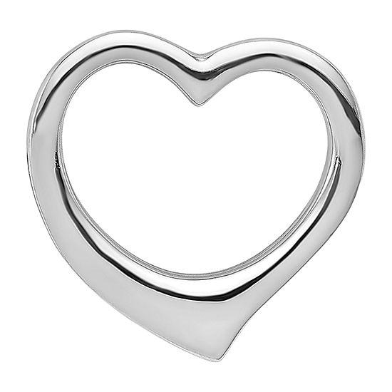 Womens 14K White Gold Heart Pendant
