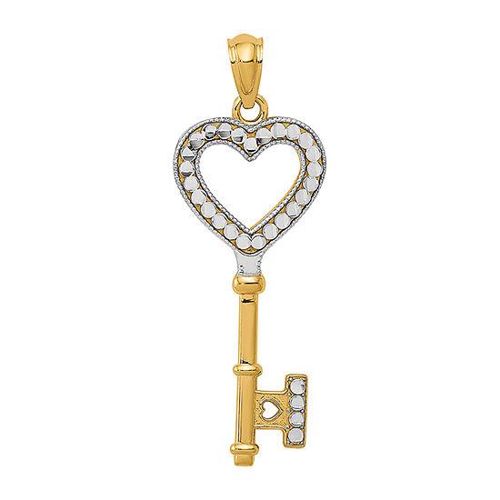 Womens 14K Gold Keys Pendant