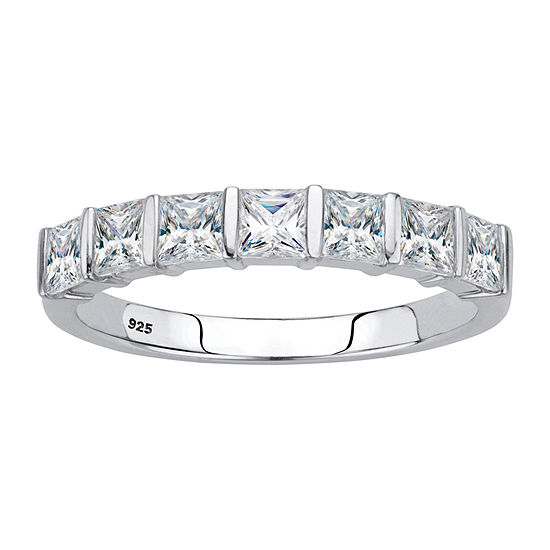 Diamonart Womens 1 1/8 CT. T.W. White Cubic Zirconia Platinum Over Silver Square Cocktail Ring