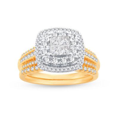 Limited Edition! Womens 1 CT. T.W. Genuine White Diamond 10K Gold Bridal Set