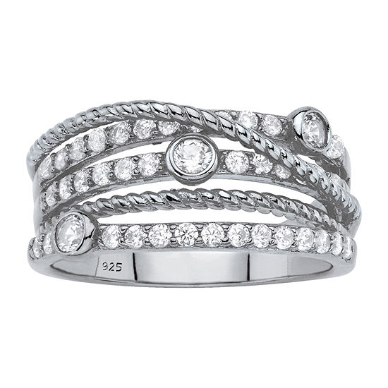 Diamonart 3MM 3/4 CT. T.W. White Cubic Zirconia Sterling Silver Round Band