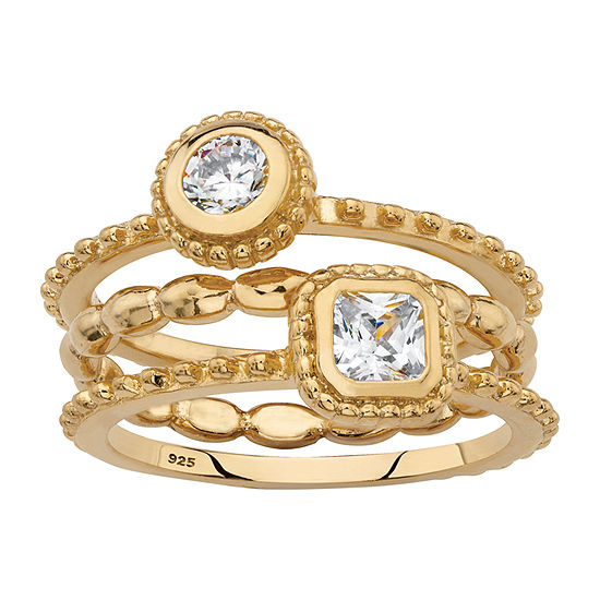 Diamonart Womens 5/8 CT. T.W. White Cubic Zirconia 18K Gold Over Silver Round Stackable Ring