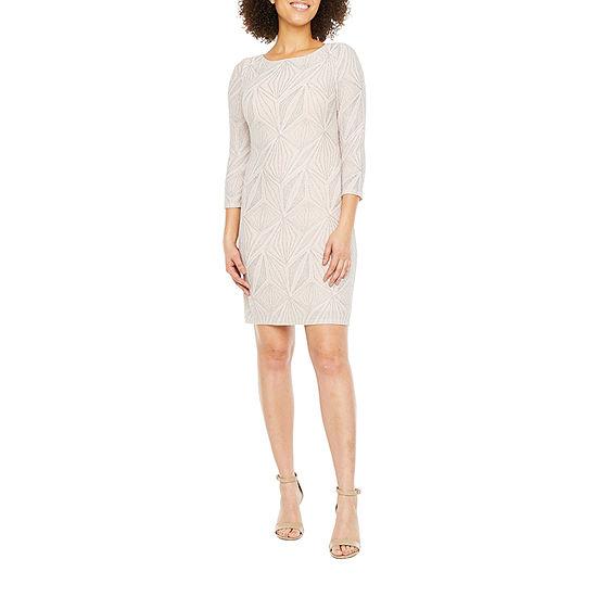 Jessica Howard 3/4 Sleeve Geometric Shimmer Print Shift Dress