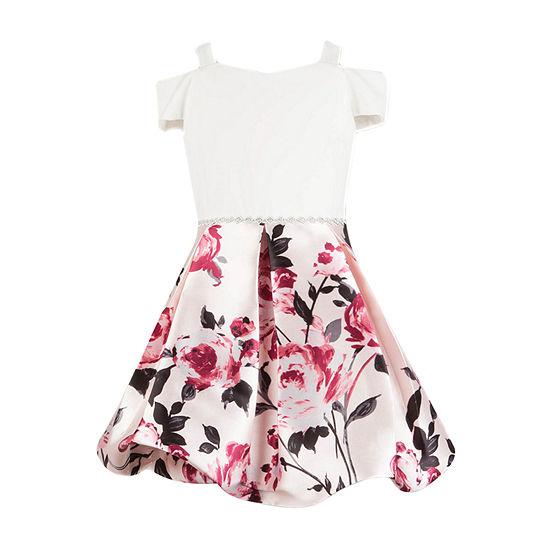 Speechless Little & Big Girls Embellished Short Sleeve Cold Shoulder Sleeve Party Dress