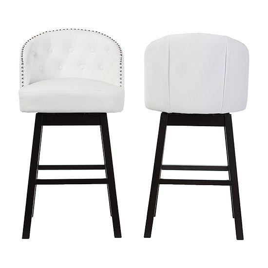 Avril 2-pc. Counter Height Upholstered Tufted Swivel Bar Stool