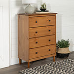 Modern 4 Drawer Simple Wood Dresser