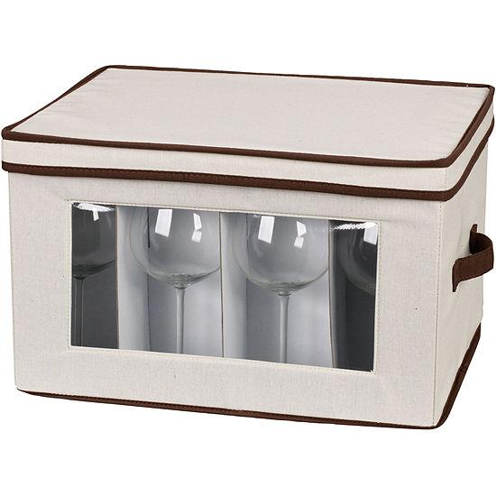 Household Essentials® Canvas Balloon Stemware Chest + Trim