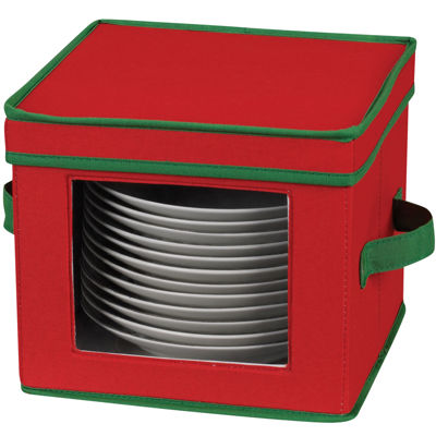 Household Essentials® Holiday Red Salad Plate/Bowl Chest + Green Trim