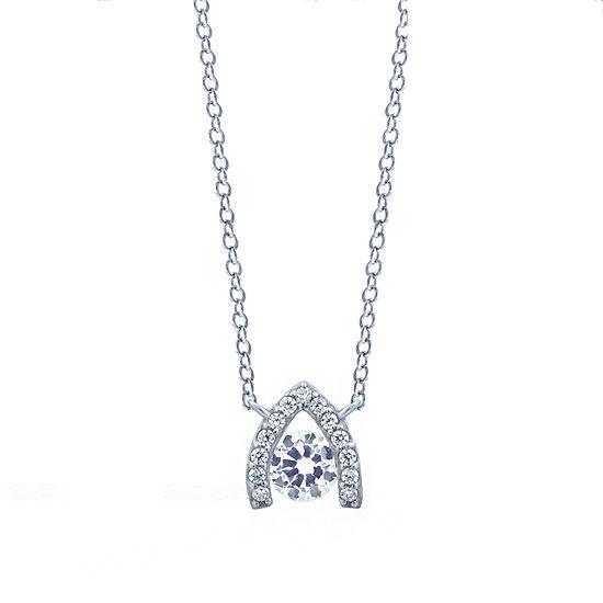 Diamonart Womens White Cubic Zirconia Sterling Silver Round Pendant Necklace