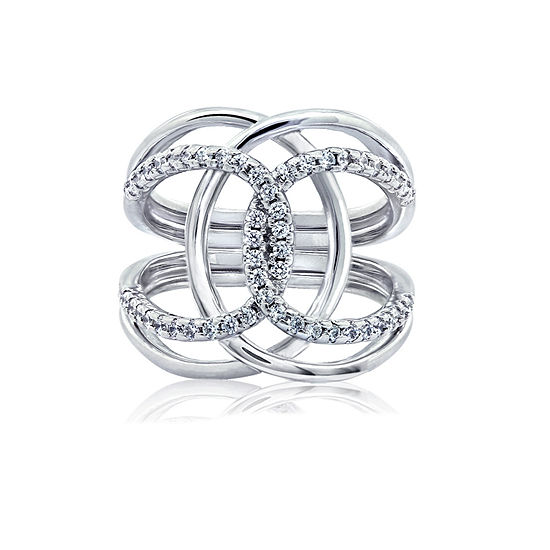 DiamonArt® Womens White Cubic Zirconia Sterling Silver Cocktail Ring