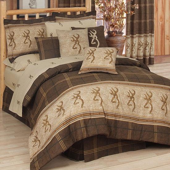 Browning Buckmark 4 Pc Brown Plaid Comforter Set