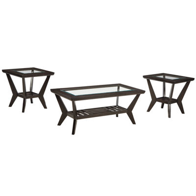 Signature Design by Ashley® Lanquist 3-pc. Glass Top Occasional Table Set