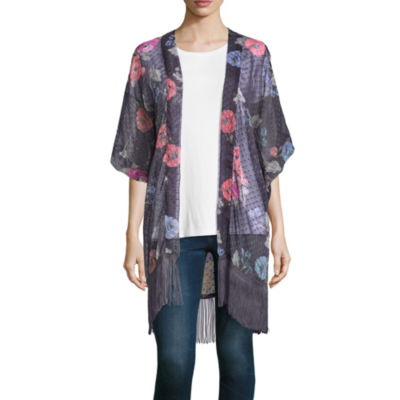Mixit 3/4 Sleeve Floral Print Dot Kimono
