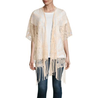 """Mixit 3/4 Sleeve Lace Fringe Kimono"""" One Size"""