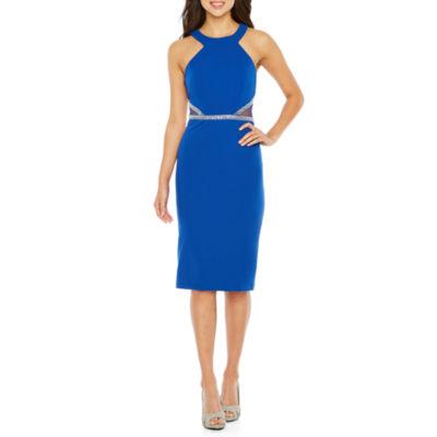 Rebecca B Sleeveless Applique Bodycon Dress