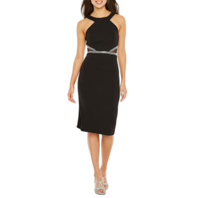 Rebecca B Sleeveless Applique Bodycon Dress