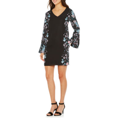Nicole By Nicole Miller Long Sleeve Floral Shift Dress