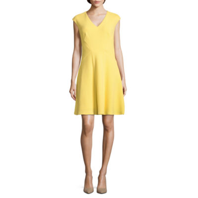 London Style Short Sleeve Jacquard Fit & Flare Dress-Petite