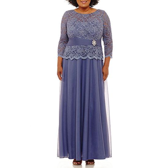 Jackie Jon 3/4 Sleeve Embellished Evening Gown