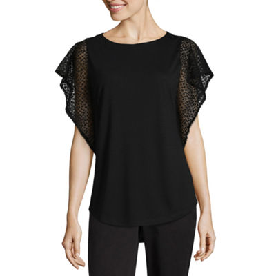 Liz Claiborne Lace Sleeve Round Neck T-Shirt - Tall
