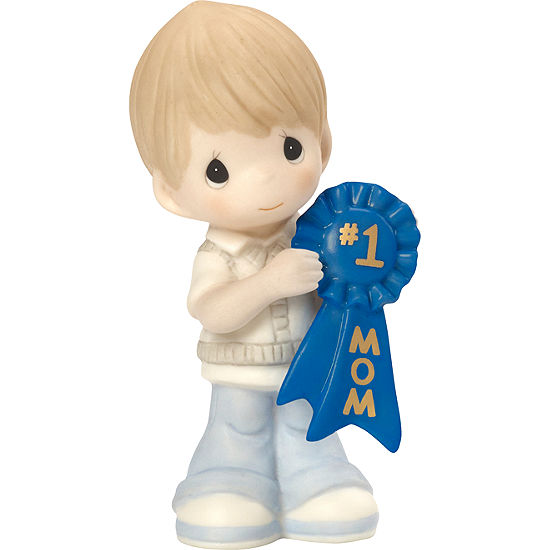 "Precious Moments  ""#1 Mom""  Bisque Porcelain Figurine  Boy  #164003"