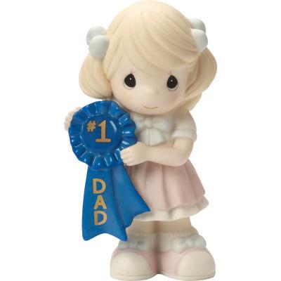 "Precious Moments  ""#1 Dad""  Bisque Porcelain Figurine  Girl  #164005"
