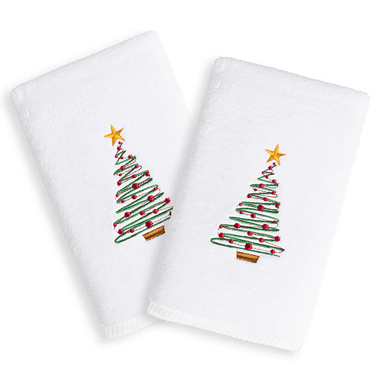 Christmas Tree - Embroidered Luxury 100% Turkish Cotton Hand Towels (Set of 2)