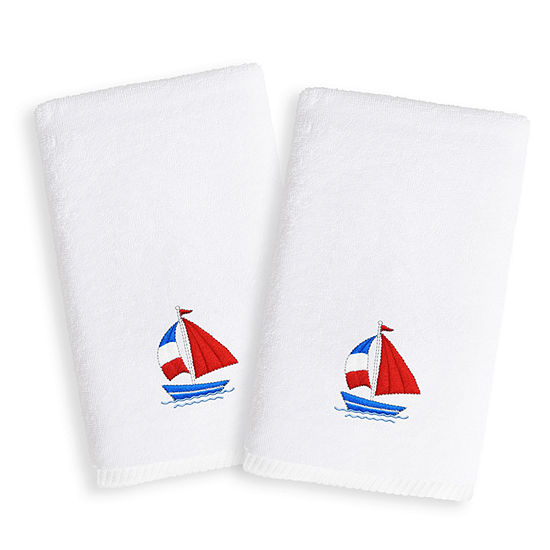 Linum Kids Embroidered Luxury 100% Turkish Cotton Hand Towels - Boat (Set of 2)