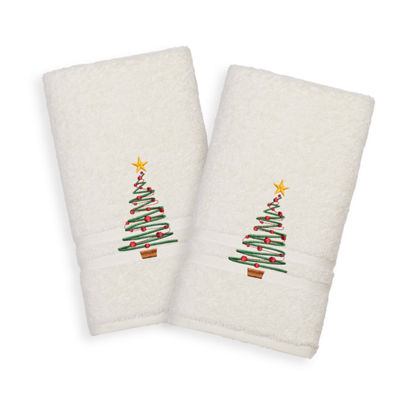 Christmas Tree - Embroidered Luxury 100% Turkish Cotton Denzi Hand Towels (Set of 2)