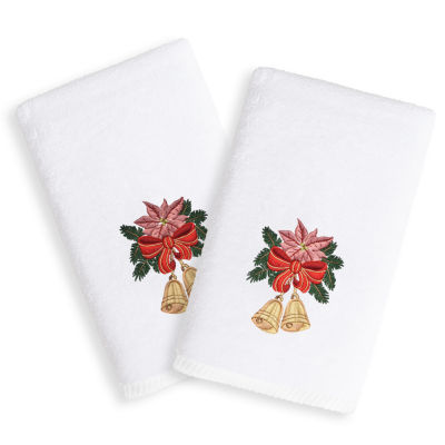 Christmas Bells - Embroidered Luxury 100% Turkish Cotton Hand Towels (Set of 2)