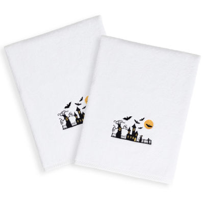 Scary-Embroidered Luxury 100% Turkish Cotton Hand Towels - Halloween Designs (Set of 2)