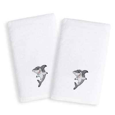 Linum Kids Embroidered Luxury 100% Turkish Cotton Hand Towels - Shark (Set of 2)