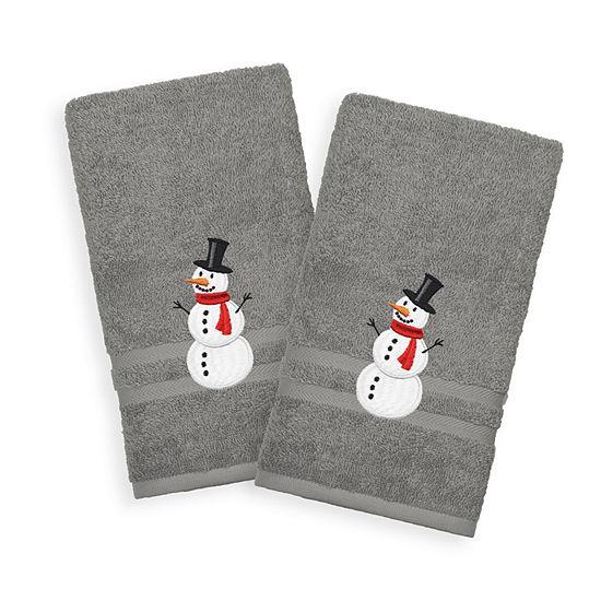 Snowman - Embroidered Luxury 100% Turkish Cotton Denzi Hand Towels (Set of 2)