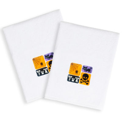 Spooky-Embroidered Luxury 100% Turkish Cotton Hand Towels - Halloween Designs (Set of 2)