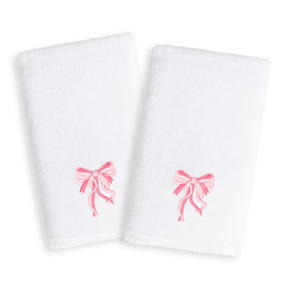 Linum Kids Embroidered Luxury 100% Turkish Cotton Hand Towels - Pink Bow (Set of 2)