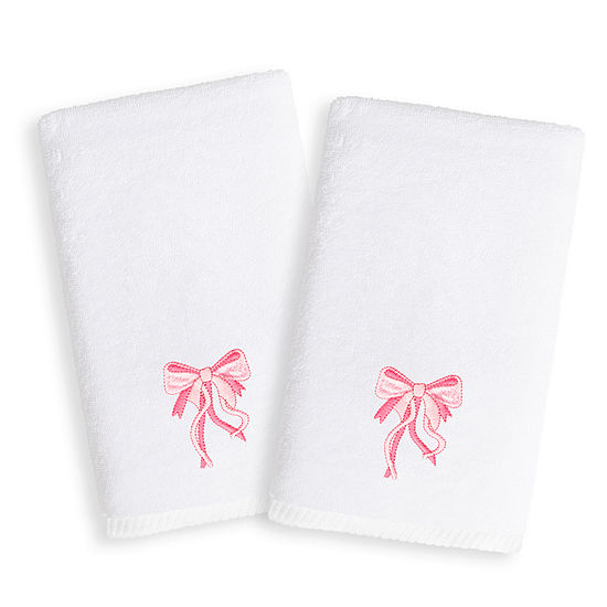 Linum Kids Embroidered Luxury 100 Turkish Cotton Hand Towels Pink Bow Set Of 2