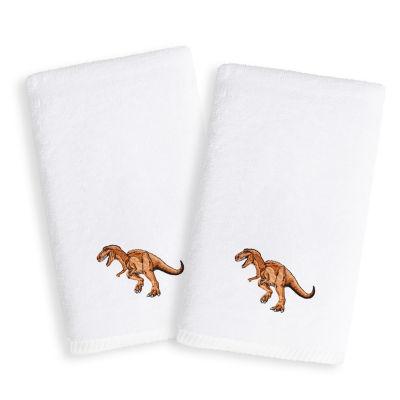Linum Kids Embroidered Luxury 100% Turkish Cotton Hand Towels - Dinosaur (Set of 2)