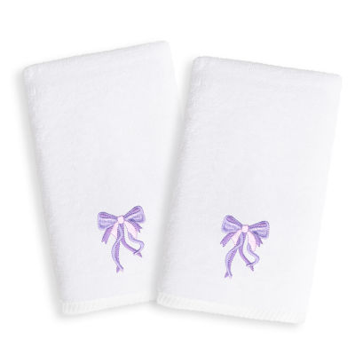 Linum Kids Embroidered Luxury 100% Turkish Cotton Hand Towels - Purple Bow (Set of 2)