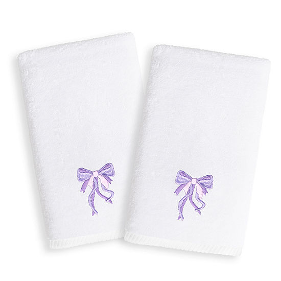 Linum Kids Embroidered Luxury 100 Turkish Cotton Hand Towels Purple Bow Set Of 2