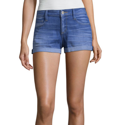 Arizona 2 1/2 inch Roll Cuff Denim Shorts-Juniors