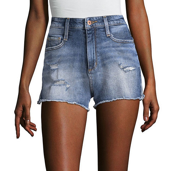 Arizona 2 1/2 inch High Rise Side Zip Denim Shorts-Juniors