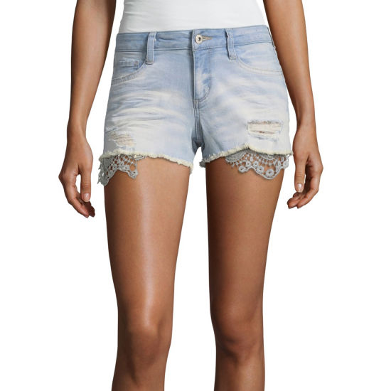 Arizona 2 1/2 inch Raw Edge Denim Shorts-Juniors