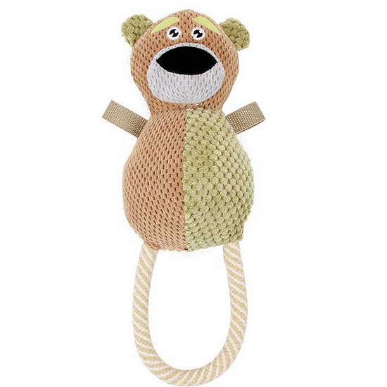 Pet Life Plush Huggabear Natural Jute and Squeak Chew Tugging Dog Toy