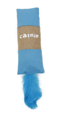 Pet Life Rectangular Duffle Crinkle Plush Faux FurTeaser Catnip Kitty Cat Toy
