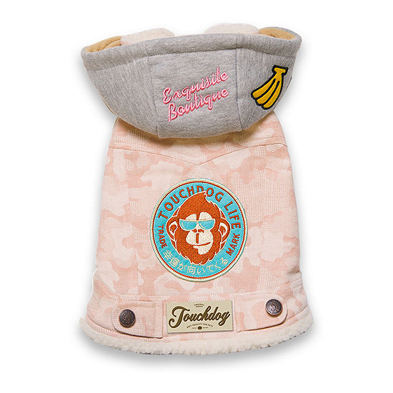 Touchdog Outlaw Designer Embelished Retro-Denim Pet Dog Hooded Jacket Coat