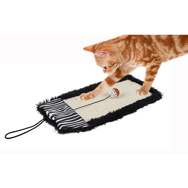 Pet Life 'Scrape-Away' Eco-Natural Sisal and JuteHanging Carpet Cat Scratcher with Toy