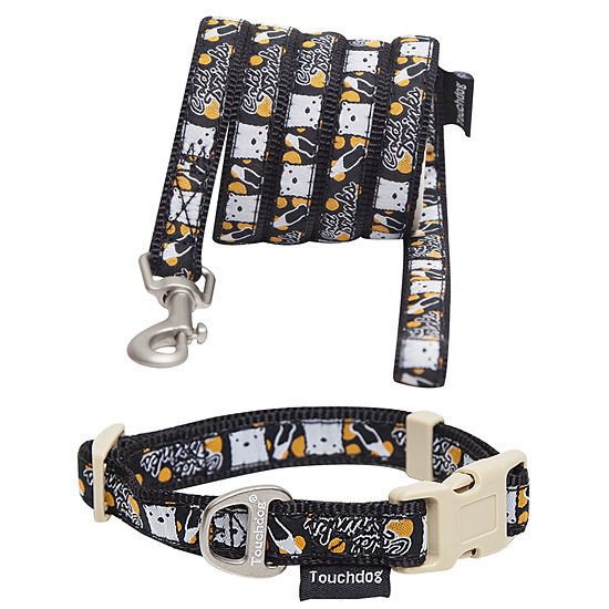 Touchdog 'Caliber' Designer Embroidered Fashion Pet Dog Leash and Collar Combination