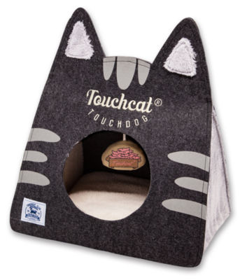Touchcat 'Kitty Ears' Travel On-The-Go Collapsible Folding Cat Pet Bed House with Toy