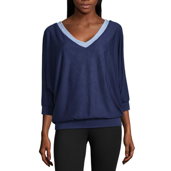 Liz Claiborne Long Sleeve V Neck Layered T-Shirt-Womens